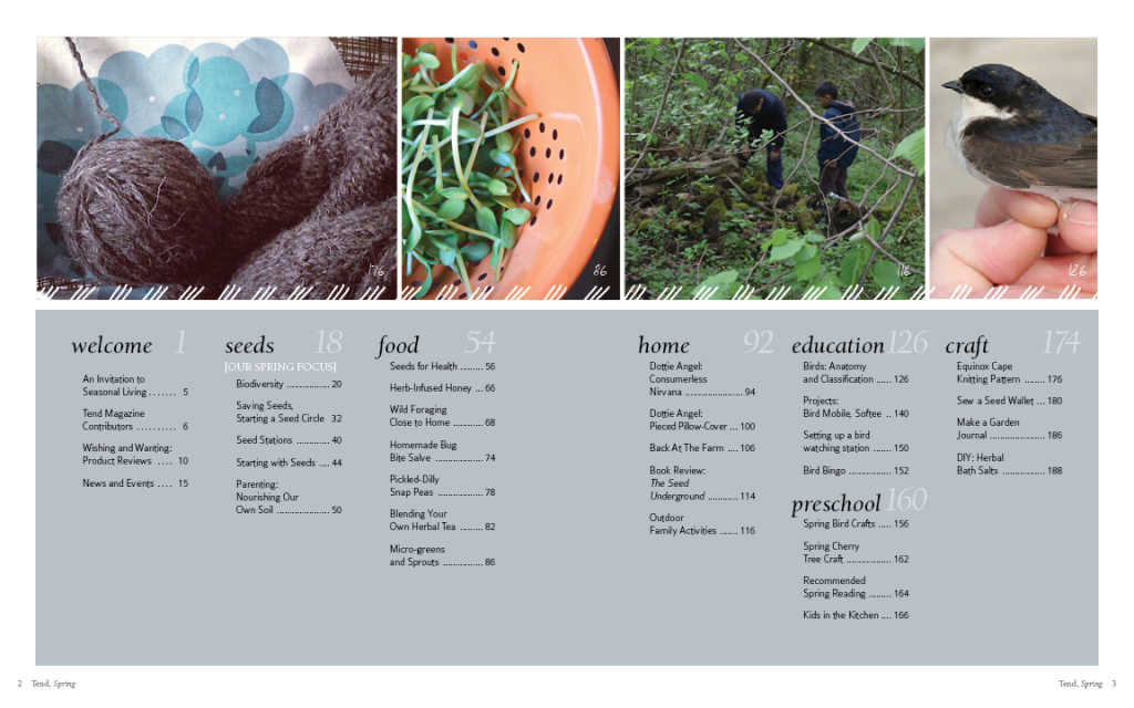 Magazine page spread for TEND