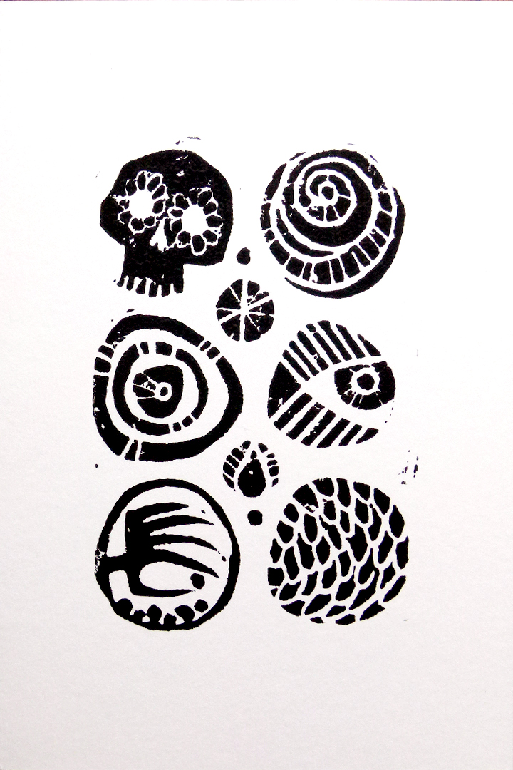 Circles/Signs linoleum block print artwork by Deb Anderson