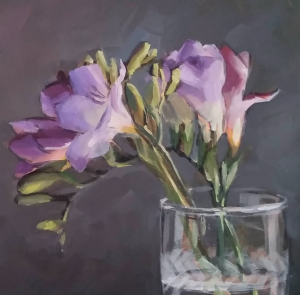 Freesias, oil painting by Deb Anderson