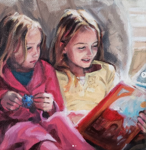 Sisters, oil painting by Deb Anderson