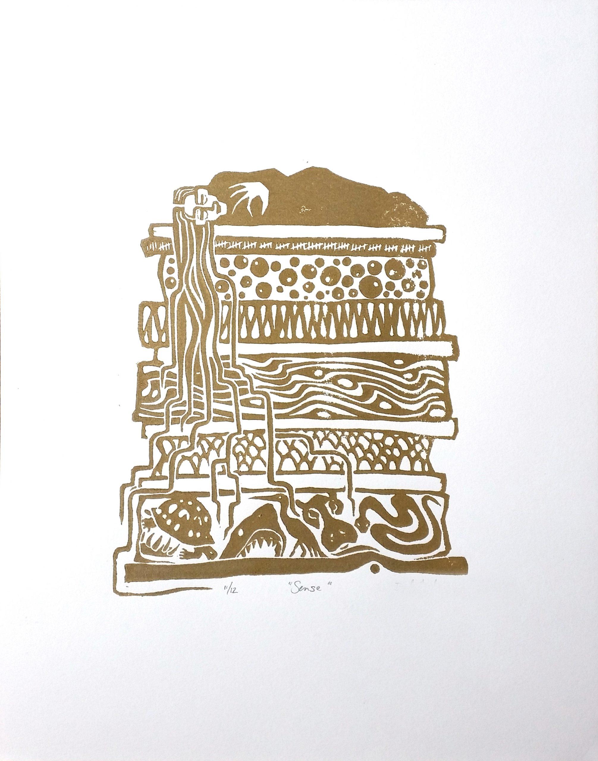 Sense, linoleum block print by Deb Anderson